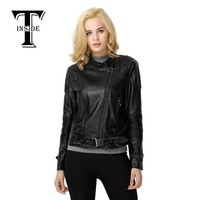 T-INSIDE Women's Fashion Motorcycle PU Leather Jacket for Ladies Rivets PlusSize Female Zipper Motorcycle Jacket&coat