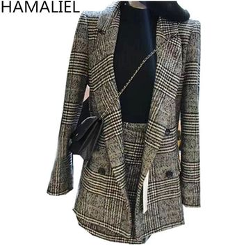 HAMALIEL Winter Women Suits 2018 Office Plaid Tweed Long Sleeve Blazer Outerwear + Fashion Mini Skirt Set 2 Piece Set Vestidos