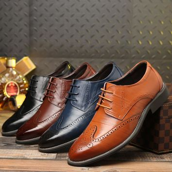 New Plus Size 47 48 Luxury Leather Shoes Lace Up Modern Men's Business Shoes Party Wedding Suit Formal Male Dress Shoes For Men