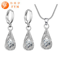 5 Colors Water Drop Pendent Transparent Zircon Cubic Snake Chain Necklace Earrings Jewelry Set for Women Bridal Wedding Party