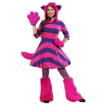 Deluxe Alice In Wonderland Adult Women Mysterious Cheshire Cat Costume Halloween Party Animals Performance Cosplay