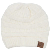 C.C. Beanie Cable Knit Beanie in Ivory HAT-20A-IVORY