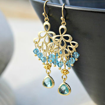 Aqua and Gold Chandelier Earrings, Crystal Dangle Earrings, Bohemian Wedding Jewelry