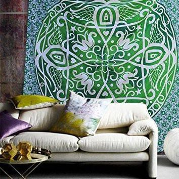 Gianna Boho Bohemian Green Ombre Wall Beach Bed Mandala Tapestry