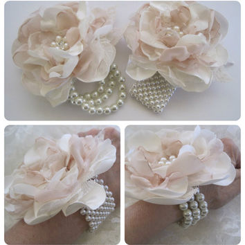 Ivory and Champagne Romantic Rose Pearl Wrist Corsage Cuff Bracelet Bride Bridesmaid Mother of the Bride Prom with Pearl Rhinestone Accents.