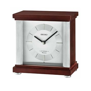 Seiko Contemporary Musical Desk Clock - Brown Wooden Case - 12 Hi Fi Melodies