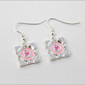 Portal 2 Companion Cube Earrings Jewelry Official Licensed Cosplay Costume NEW