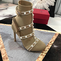 Valentino Garavani The Rockstud Leather-trimmed Stretch-knit Sock Boots #2935