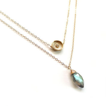 Gold Layer Necklace, Labradorite Necklace, Labradorite Pendant, Labradorite Layer, 14k Gold Filled Chain, Labradorite Stone