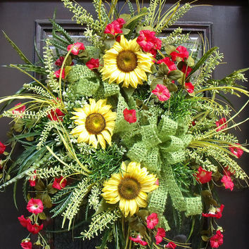 Sunflower Summer Wreaths, Door Wreaths, Wild and Woodsy Wreath, Red and Yellow