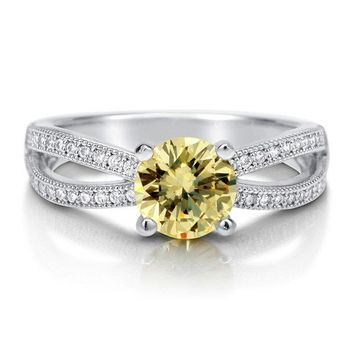 Round Canary CZ 925 Sterling Silver Split Shank Solitaire Ring 1.28 ct #r507
