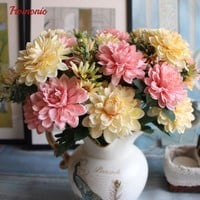 1Branch/10 heads DIY Fresh Artificial marigold Chrysanthemum Silk balcony Flower Fake plant for Wedding Home Party Decorative