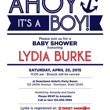 "4"" x 5"" Ahoy It's a Boy, Nautical Baby Boy Shower Invitation on Card Stock or Photo Paper"