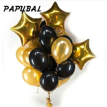 13pcs/lot 12 inch pearl black gold Latex balloons with 18 inch gold star wedding birthday party decor inflatable air ball supply