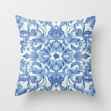 Pattern in Denim Blues on White Throw Pillow by Micklyn