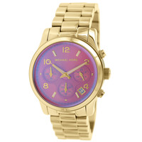 Michael Kors MK5939 Women's Runway Mid-Size Iridescent Pink Dial Gold Steel Bracelet Chronograph Watch