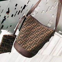 Fendi Fashion New More Letter Shoulder Bag Shopping Leisure Two Piece Suit Women Coffee