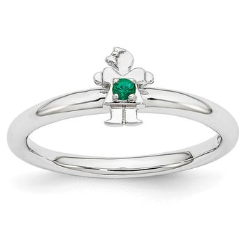 Rhodium Plated Sterling Silver Stackable Created Emerald 7mm Girl Ring
