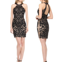 COLORS 1519 High Neck Beaded Sheath Homecoming Cocktail Dress