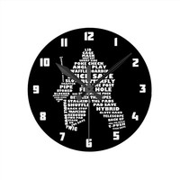 Ice Hockey Goalie Text Art Round Clock