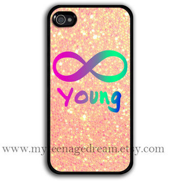 infinity iphone 4 case, Forever young iphone 4 case, sparkle iphone 4 case, black iphone 4s case