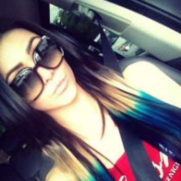 "Peacock Ombre, Black Hair extensions with a quick fade to brown,  green and blue,  7 Pieces,18""/Customize your Base."