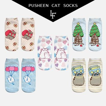 New 3D Arrival Pusheen Cat Socks Cute Beauty Women Low Cut Ankle High Quality Animal Socks Free Shipping
