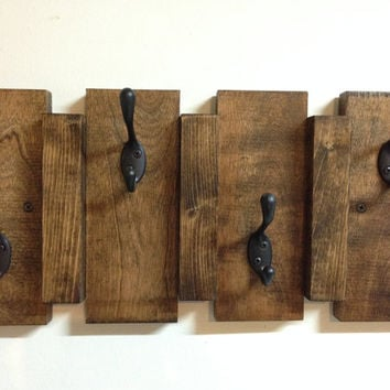Rustic Wood Wall Mount Coat Hook Rack From