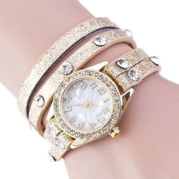 Women's Fashion Stylish Bling Gold Tone Rhinestone Bracelet Watch