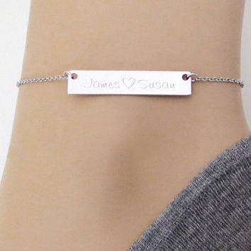 Personal, words, Initials, Bar, Gold, Silver, Rose gold, Anklet, Lovers, Friends, Mom, Sister, Gift