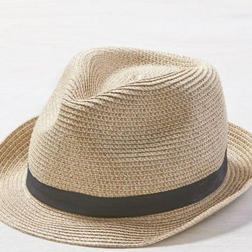 AEO Women's Metallic Straw Fedora (Natural)