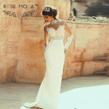 Pearl Beaded High Neck Long Sleeves See Through Lace Corset Sheath Wedding Dress with Keyhole Back Vestidos de Noiva