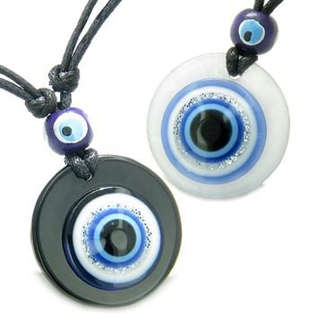 Evil Eye Reflection Couples Best Friends Protection Amulets Medallions Jade Onyx Pendant Necklaces