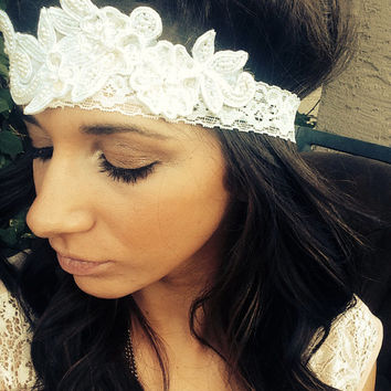 Ivory Lace Vintage Bridal headband 1920's Great Gatsby Inspired