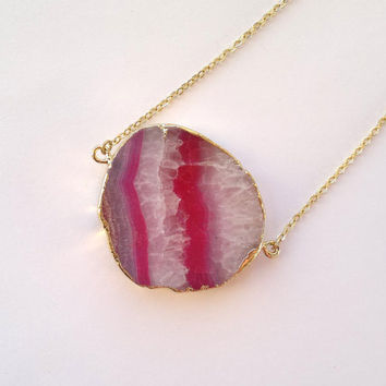 Necklace Agate Druzy Pendant Gold Edge Agate Slice Jewelry Gold Dipped Jewerly Mineral Necklace Stone Geode Jewelry Pink Stone Necklace