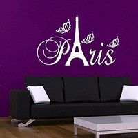 Wall Decal Vinyl Sticker Decals Art Decor Design Sign Paris Eiffel Tower City France Country Europe Living Room Bedroom C506