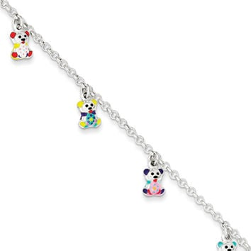 925 Silver 6 Inch Multicolored Enameled Teddy Bear Girls Bracelet