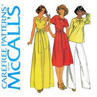 1970s Dress Pattern Uncut Bust 40 42 McCalls 6012 Flutter Sleeve or Cutaway Armholes Evening Maxi Dress or Top Womens Vintage Sewing Pattern