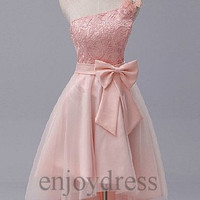 Custom Hi Low One Shoulder Pink Lace Tulle Prom Dresses Evening Dresses Party Dresses Wedding Party Dresses Bridesmaid Dresses 2014