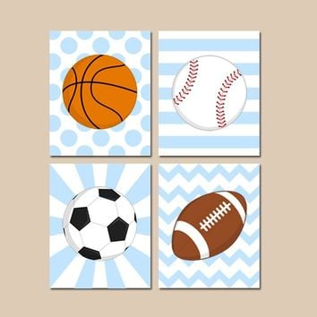 Sports Nursery Decor, SPORTS Canvas or Prints, Baby Boy Nursery Wall Art, Sport Balls Decor, Soccer Football Baseball Basketball, Set of 4