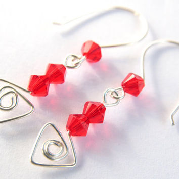 Red sterling silver drop dangle earrings