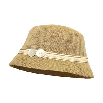 Tan Bucket Hat with Colorful Band and 2 Buttons Cloche Ladies Hat