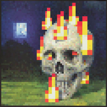 Minecraft Flaming Skull  Video Game Poster 24x24