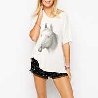 Wildfox Oversized T-Shirt With Animal Horse Print