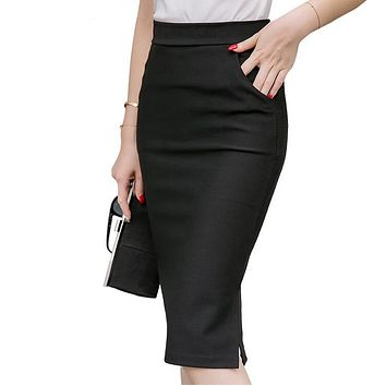 4XL 5XL Plus Size Midi Skirt Women 2017 Fashion OL Office Pencil Skirts Women's New Arrival High Waist Skirt Womens Office Skirt