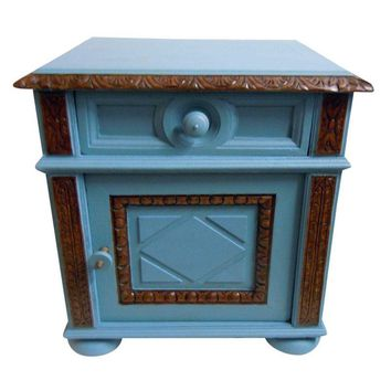 Pre-owned Blue Painted Mid-Century Nightstand
