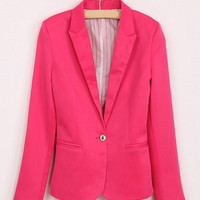 Lapel Neck Long Sleeve One Button Blazer