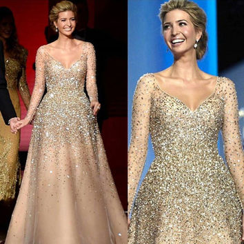 Ivanka Trump 2017 Glitter A-Line Evening Dresses with Big V-Neckline Long Sleeves Floor Length Party Gowns