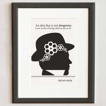 Illustration, Oscar Wilde Quote, Steampunk Fine Art Prints, Art Posters, Silhouette Art, Giclee Print, Drawing, Wall Art