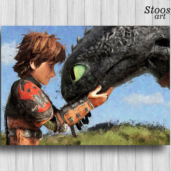 how to train your dragon poster nursery gift toothless and hiccup art dragon watercolor print